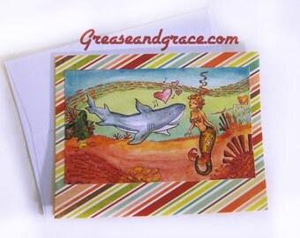 Mermaid, STRIPE BKGD Pin-Up, 1950s, Blank Inside Greeting Card