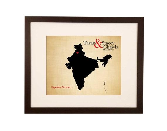 Wedding Gift India Online: Cotton Anniversary Gift India Wedding Map By JWdesignStudio
