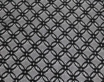 Black Jasmine Pattern Lace Fabric, Wedding Lace Fabric, Bridal Lace Fabric - 1 Yard Style 444