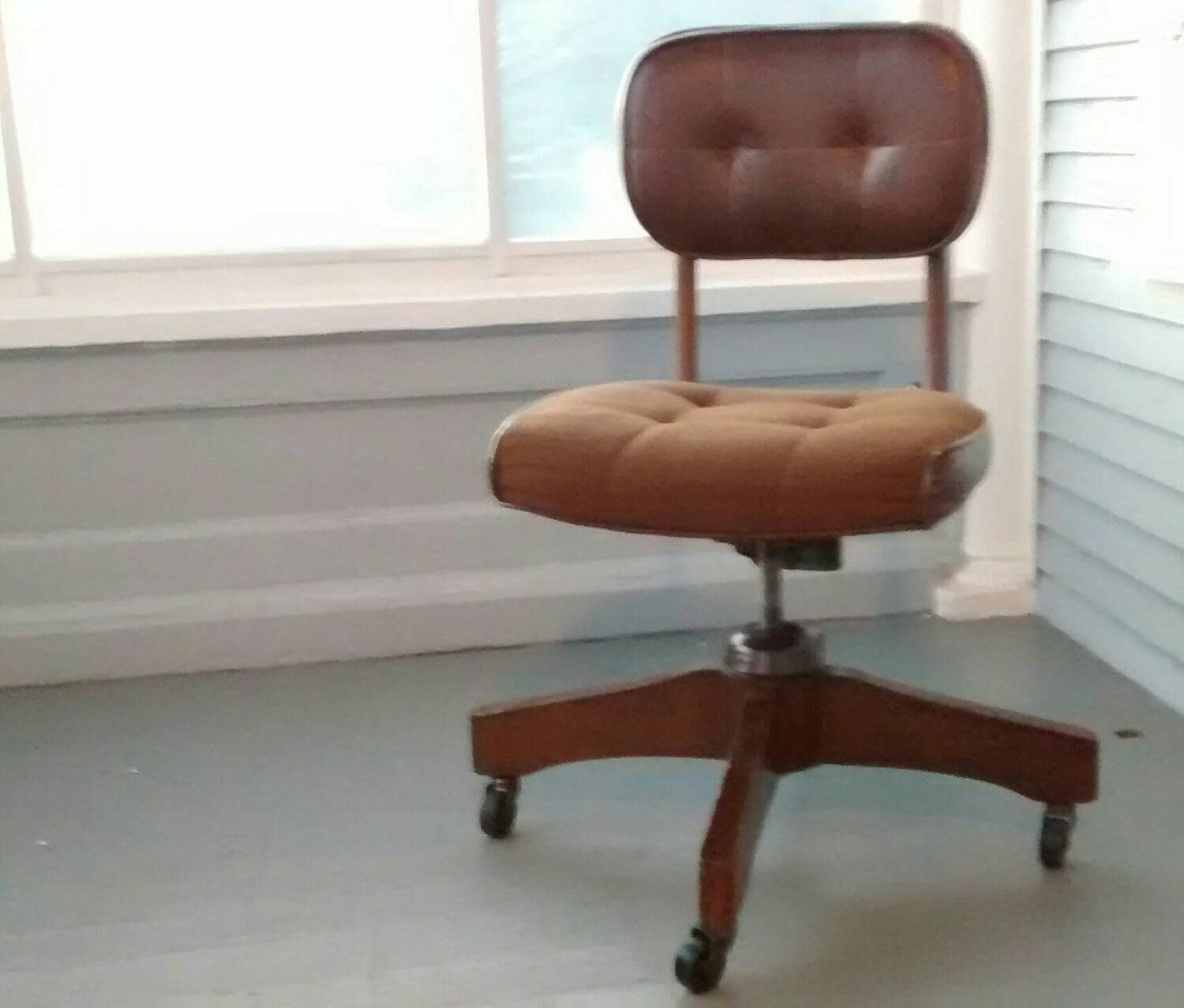 Desk Chair Office Chair Rolling Chair Vintage Retro Brown