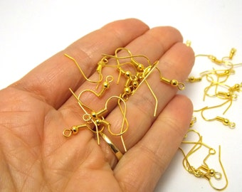 Gold Earrings Jewelry Making supplies Wholesale Earring Hooks findings Earring parts Make Earrings Hook Ear wires Bulk Bloomsy Lu Crafts