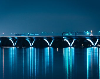The Woodrow Wilson Bridge at night, seen from National Harbor, Maryland. | Photo Print, Stretched Canvas, or Metal Print.