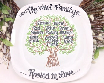 The Original Personalized Family Tree Plate - Custom Grandparents - Anniversary Grandmother Mother Wedding Plate