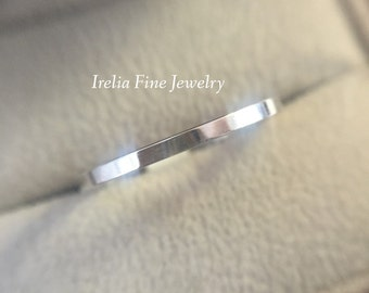 14k White Gold 1.5mm  Flat Women's Wedding Band Also in Rose & Yellow Gold ***Free Shipping