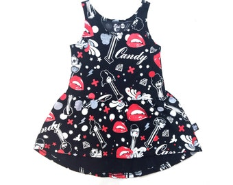 Cat dress for girls , organic cotton dress Twirly dress Girls black dress round dress Cool girls clothes Dressy dress for girls