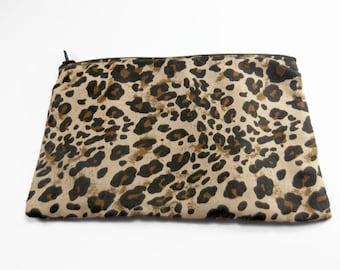 Black and Brown Leopard Print Bag, Animal Print Zipper Bag, Makeup Bag, Leopard Cosmetic Bag, Beautiful Bag, Zipper Pouch, Travel Bag