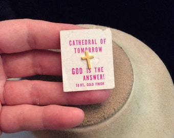 Vintage Goldtone Small Cross Tac Pin On Card