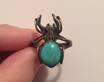 30% DISCOUNT SALE Vintage Native American Style Black Widow Turquoise Sterling Silver Spider Ring (#60)