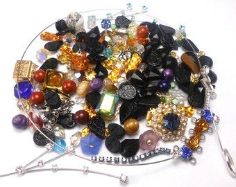 Lot of VINTAGE junk Rhinestone&Filigree, old beads, broken scrap jewelry from Czechoslovakia
