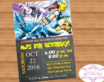 POKEMON, Birthday Invitation Digital or Printed