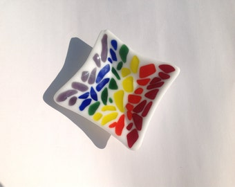 Rainbow Color Fused Glass Dish