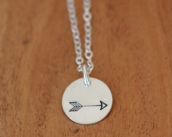 Arrow Necklace, Sterling Silver Arrow Necklace, Sterling Silver Hand Stamped Arrow Necklace, Arrow Jewelry for Her, Wedding Gift