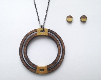 Hoop Necklace and Wood Earrings - Gold Wood Necklace, Lightweight Jewelry, Wood Jewelry, Gift for Women, Natural Jewelry, Laser Cut Jewelry