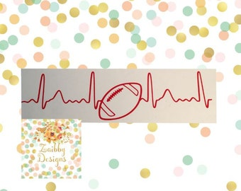 Football, Soccer, Basketball, Baseball, Tennis Heartbeat Decal, Sports Decal