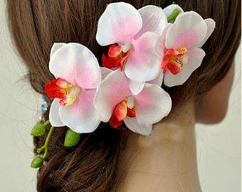 Pink orchid flower hair clips, orchid flower hair clip
