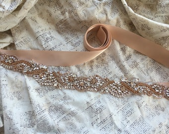 Rose Gold Sash, Rose Gold Belt, Wedding Belt, Rhinestone Bridal Belt, Rhinestone Sash, Rose Gold Sash Belt, Bridal Sash Belt, Vintage sash