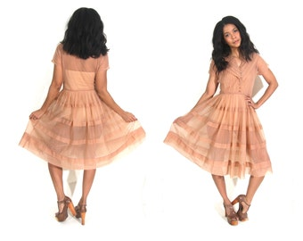 Vintage 50s Sheer Peach Nude Full Swing Tiered Circle Skirt Dress Glam