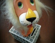 Vintage 1960's 60s LION BANK BLOCK by R. Dakin Co with long fur mane and Great charming details for Roaring Fun!