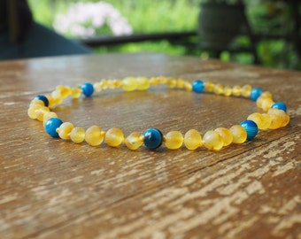 RAW Baltic Amber Teething Necklace for your Baby  lemon amber baroque beads and agate