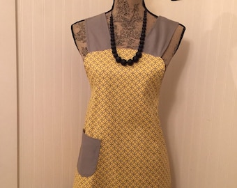 Yellow and Grey Cooks Cover up Full Apron with pocket