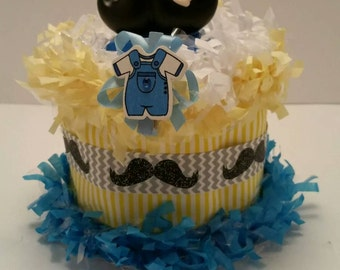 Little Man Moustache Baby Shower Birthday Diaper Cake Centerpiece Decoration Cake Topper