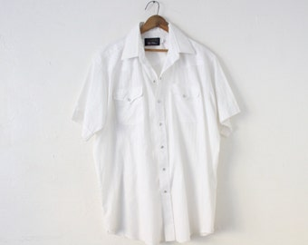 XLARGE (17.5) 1980s White Panhandle Slim Lightweight and Thin White Snap Button Short Sleeve Shirt