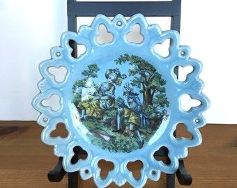 Vintage blue lattice edge plate porcelain decorative dish transferware