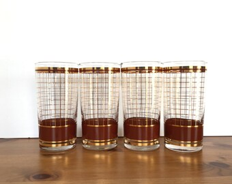 Vintage Culver highball glass set of 4 glasses windowpane design