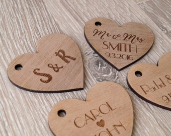 Wedding favor tags, personalized wooden tags, heart tags, rustic wedding favor tags, wedding favors, custom engraved wooden hearts, 25 pc