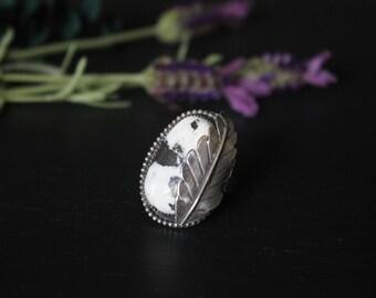 Large handmade sterling silver white buffalo ring