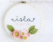 "8""  Name with 3 Dimensional Flowers - Personalized Hoop Art - Felt and Embroidery"