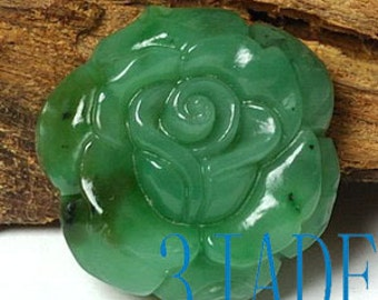 Natural Green Nephrite Jade Carving Rose Flower Pendant -G026001
