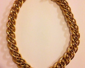 Vintage gold plated Napier Pat Pend double row Link Necklace