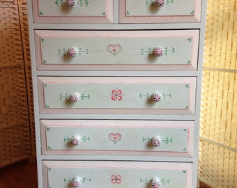 Chest of Drawers / Tallboy - handpainted Boho style