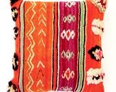 Magenta & Orange Kilim Vintage Moroccan Pillow
