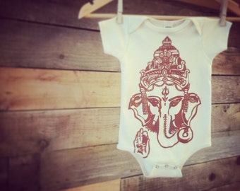 Ganesh Baby Clothes, Infant One Piece, Bodysuit, Babies, Shower Gift, Unisex, Organic Cotton, Handprinted, Ganesha, Wisdom and Learning