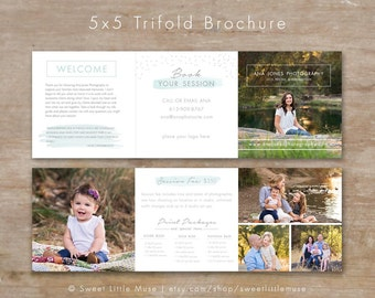 Trifold Brochure - accordion mini template - trifold template - photography template for Photoshop Accordion template