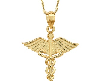 "14k solid gold medical pendant on 18"" solid gold chain. medical jewelry."