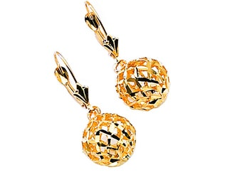 14k yellow gold diamond cut ball lever earrings.