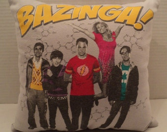 Bazinga! pillow/ shirt pillow/ The Big Bang Theory shirt pillow/ handmade/ travel pillow