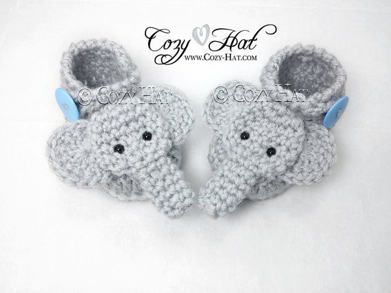 Elephant Baby Booties. MADE to ORDER Hand crochet. by CozyHat