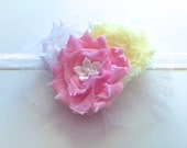 Girls Hair Clip or Head Band, Hair Bow, Shabby Chiffon Hair Clip, Pink Yellow and White, Made to Match by 8th Day Studio