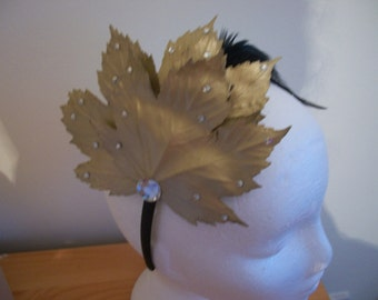 Vintage inspired leaf and feather headband