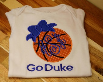 Duke Basketball Game Day Girls Bow monogrammed Bodysuit, Infant gown, or Tee  - Can be customized for any team