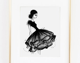 """Fashion Illustration Print, Frills, 8x10"""""""