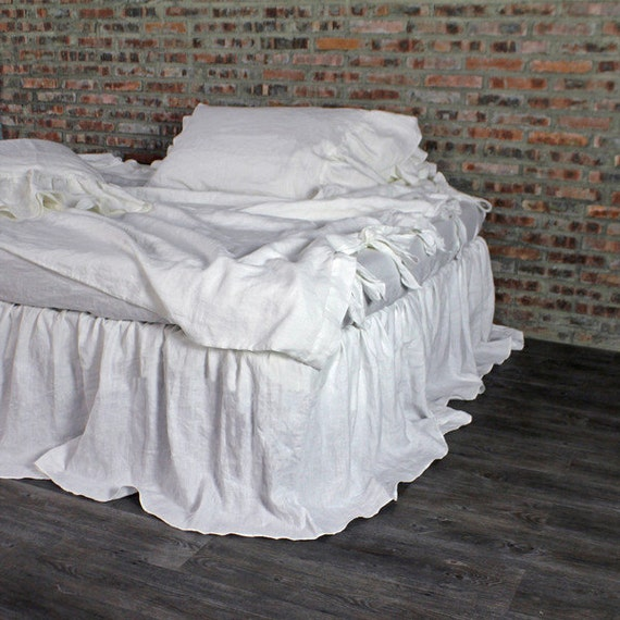 king size ruffled linen white bed skirt 76 39 39 x80 39 39 by thenewhome. Black Bedroom Furniture Sets. Home Design Ideas