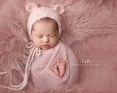 Newborn size mohair blend bear bonnet, photo prop, gift idea, knit, crochet, bear,