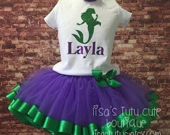 Princess birthday tutu. Ariel tutu. Mermaid birthday outfit. Ariel Birthday outfit,  mermaid tutu, mermaid outfit, mermaid birthday