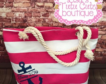 Disney 2016 Canvas Bag. Disney Vacation. Disney Cruise. Vacation bag. Nautical bag. Anchor bag. Personalized anchor bag.