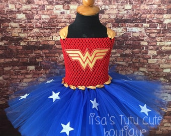 Childrens super hero dress. Wonder Woman theme. Superhero tutu. Superhero birthday.